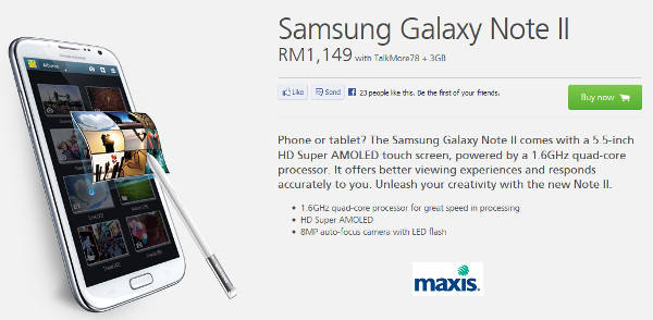Maxis Drops Galaxy Note II down to RM1149