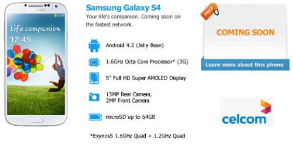 Celcom's Samsung Galaxy S4 / S IV Plan Coming Soon