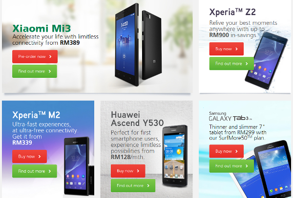 Maxis ONEplan bundles include HTC One M8, Samsung Galaxy S5, Sony Xperia Z2, Xiaomi Mi 3 and more