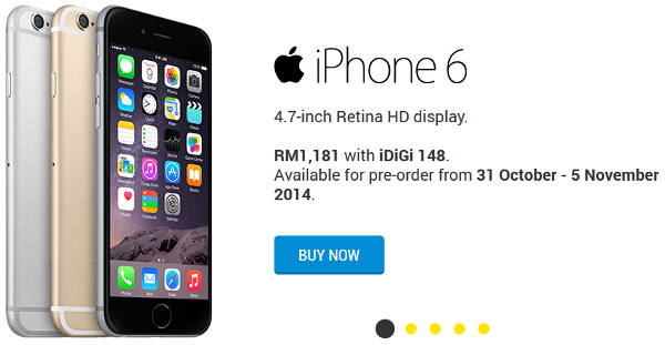 DiGi offers Apple iPhone 6 and iPhone 6 Plus on pre-order from RM1181 and RM1516