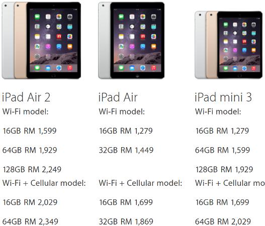 Apple iPad Air 2 Malaysia price