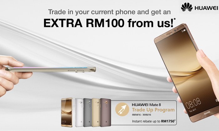 Get a brand new Huawei Mate 8 for below RM300 by trading-in your old smartphone
