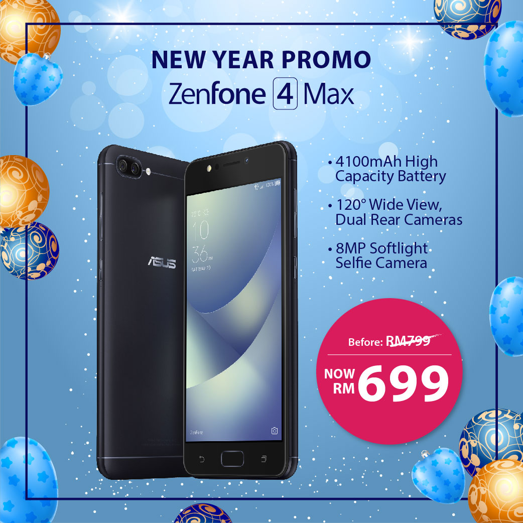 4100mAh ASUS ZenFone 4 Max phone is now RM699