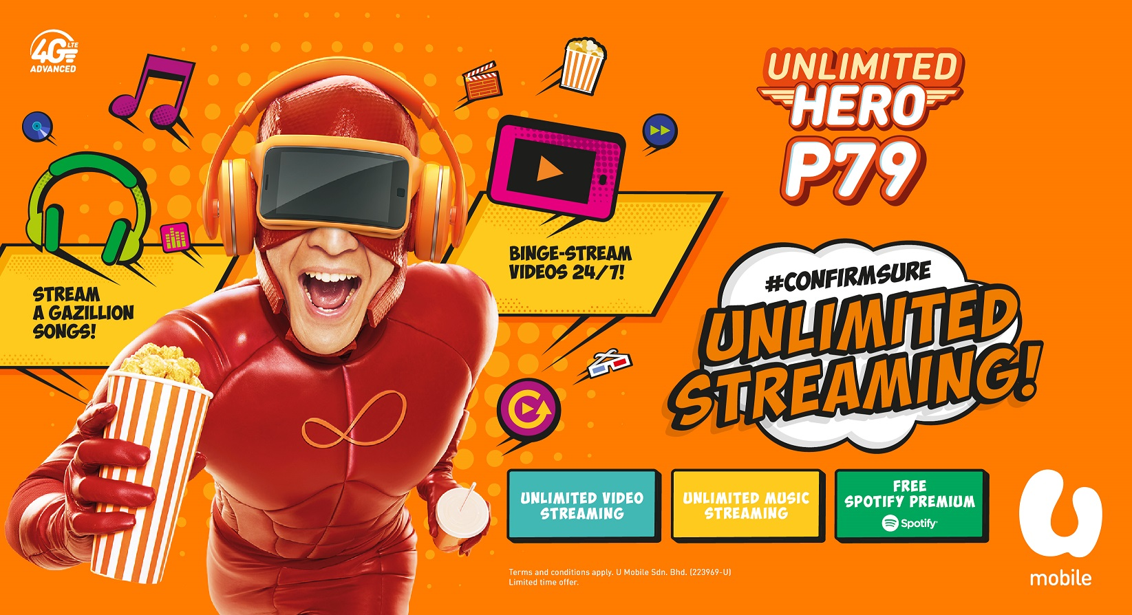 U Mobile's new Unlimited HERO P79 offers 6 months of free Spotify premium subscription