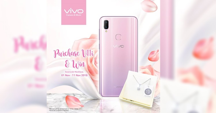 Stand a chance to win Swarovski Necklace from purchasing a vivo V11i Fairy Pink Edition
