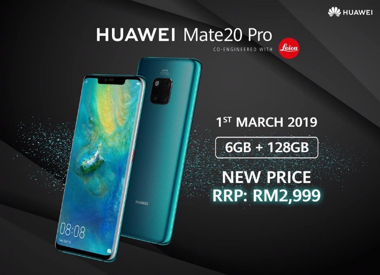 Huawei Mate 20 Pro (6GB + 128GB) model is now RM2999!