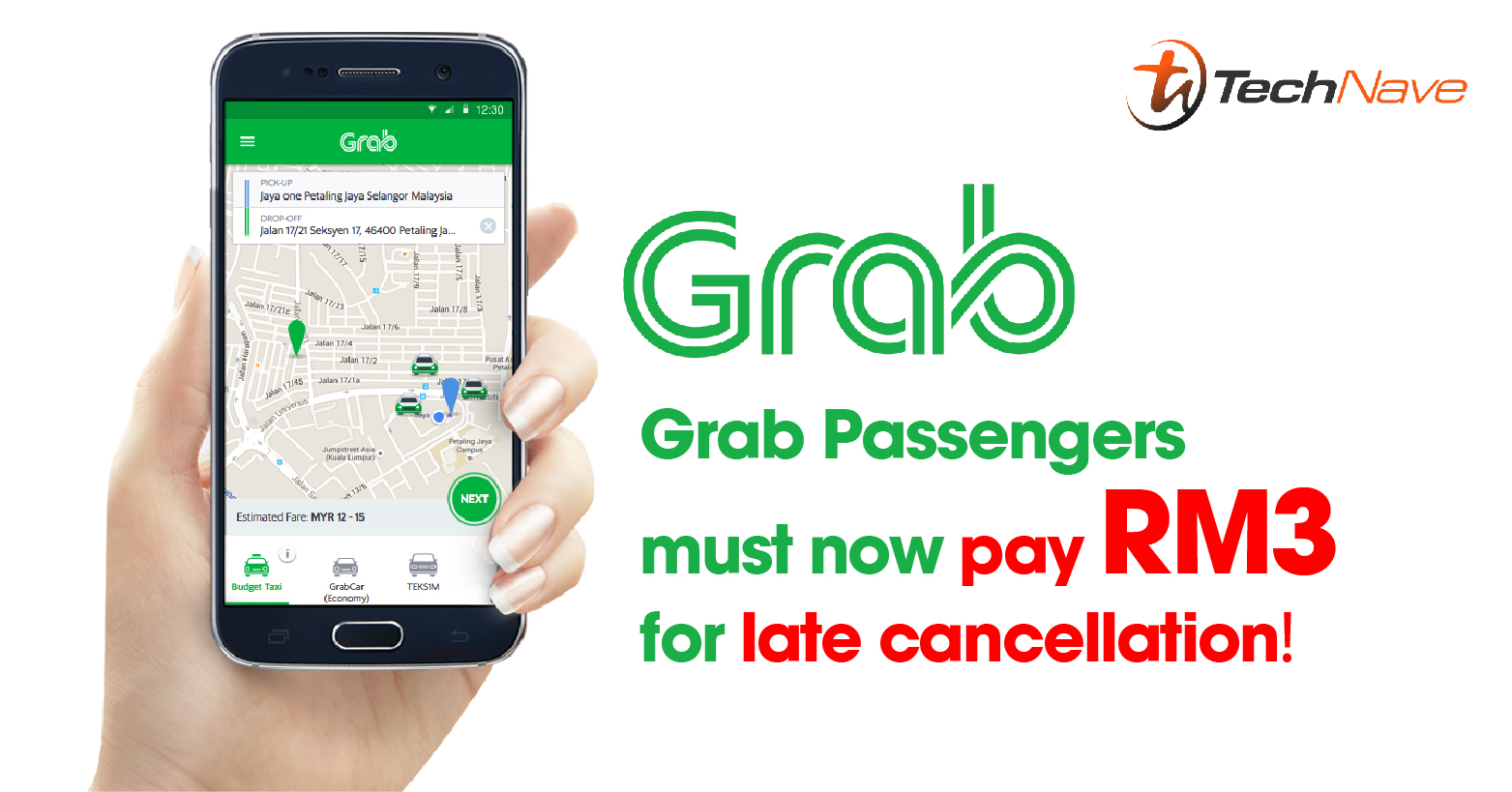 Grab Passengers must now pay RM3 for late cancellation and