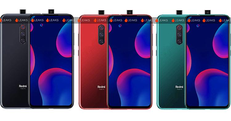 Render dari bentuk ponsel Xiaomi Redmi K20.